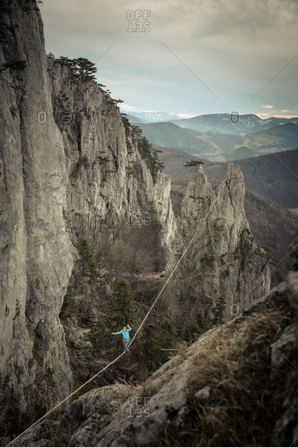 High angle view of person walking on highline in Lower Austria, Austria