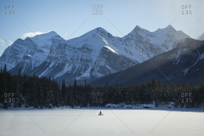 Fat biking at Herbert Lake, Banff National Park, Alberta, Canada