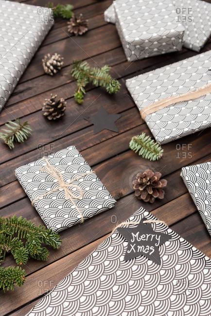 Handmade craft christmas gifts on the table