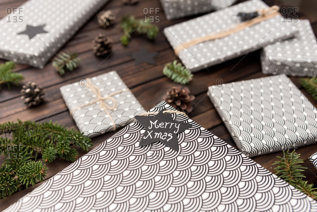 Handmade craft christmas gifts on the table