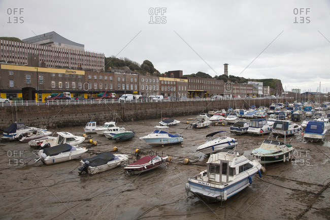Island of Jersey, Channel Islands - November 30, 2017: Low tide in the Marina harbor