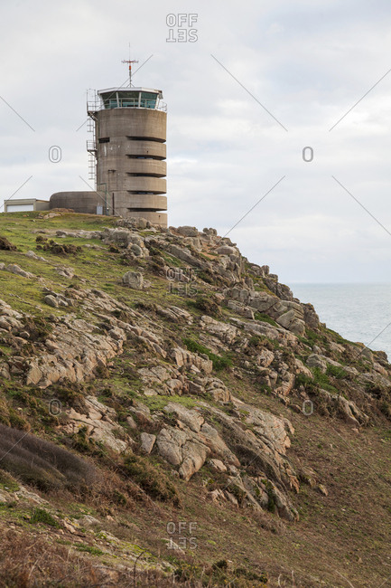 Former World War 2 bunker, currently a beacon for ships at Jersey Island