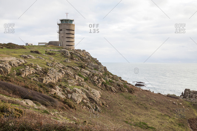 Former World War 2 bunker, currently used as a beacon for ships at Jersey Island