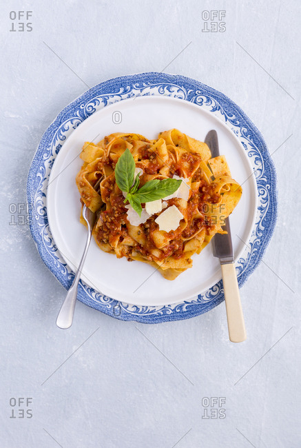Overhead shot of pappardelle with bolognese sauce