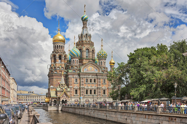 Saint Petersburg, Russia, Europe - July 20, 2017: Church of the Savior on Spilled Blood, Griboedov Canal