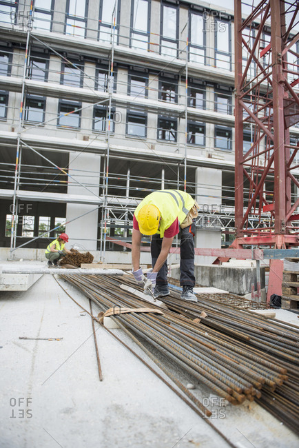 Construction workers working at building site