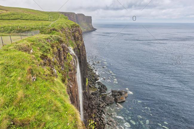 Kilt Rock and Mealt waterfall in Isle of Skye, Scotland
