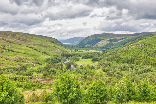 Scenic view of green hill and canyon, Loch a' Bhraoin, Scotland