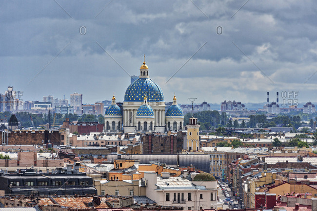 Trinity Cathedral and city skyline, Saint Petersburg, Russia