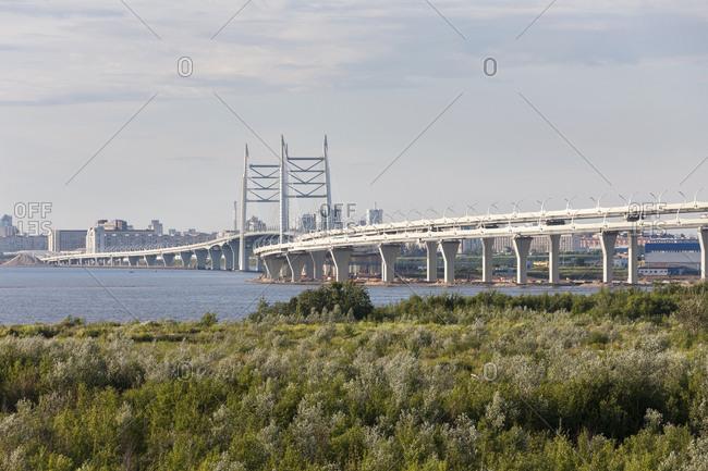 Bridge at the port of St. Petersburg, Russia