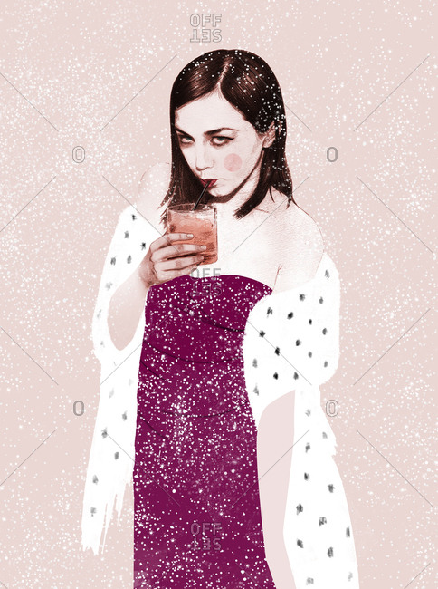 Young white woman sipping a drink with a straw, elegantly dressed, standing in snowfall