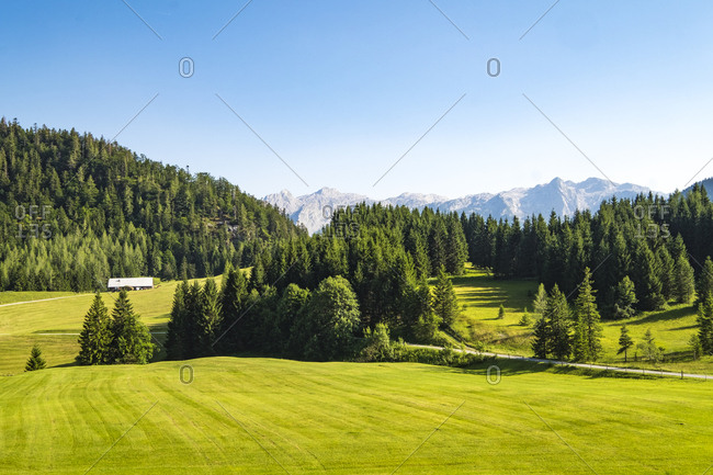 Alpine scenery with house in distance