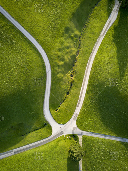Rural Austria intersection view from above