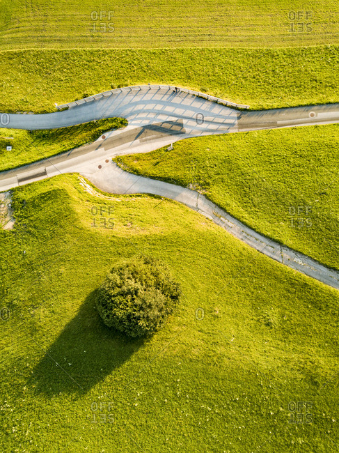 Top view of winding countryside road in Austria