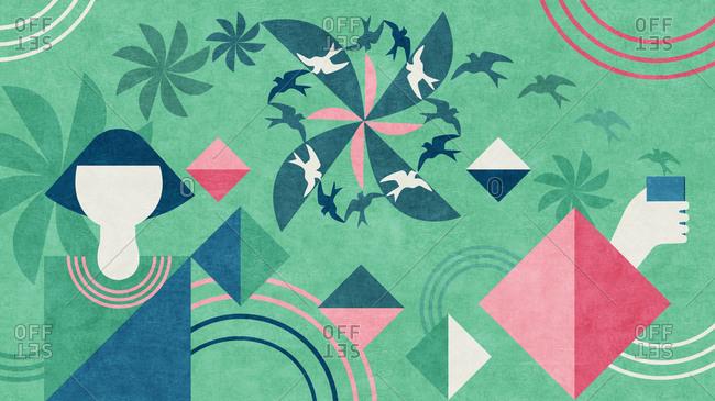 Geometric birds and flowers