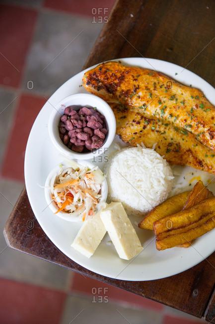 Overhead view of a local dish in Granada, Nicaragua