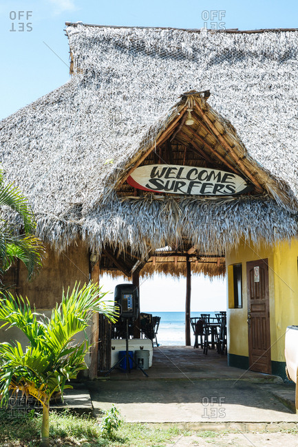 Playa Maderas, San Juan del Sur, Nicaragua - March 11, 2017: Surfer friendly cafe on the beach