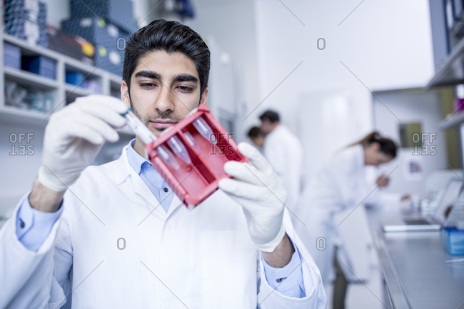 Lab assistant holding test tube rack
