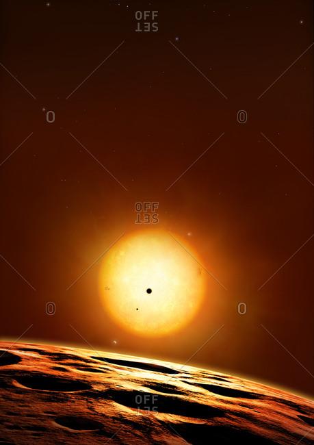 Kepler 444 system of planets, illustration