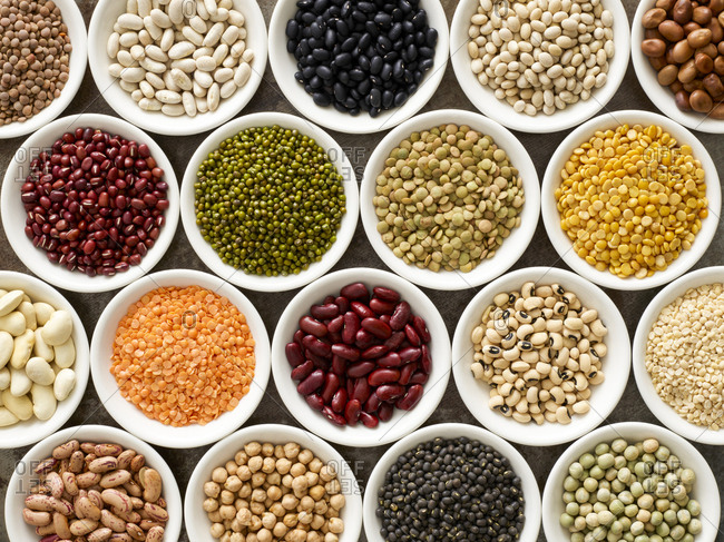Pulses in white bowls