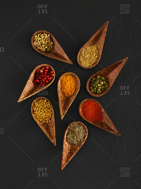 Dried spices in wooden spoons