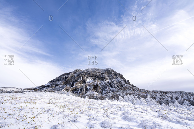 Mountain range with snow in winter