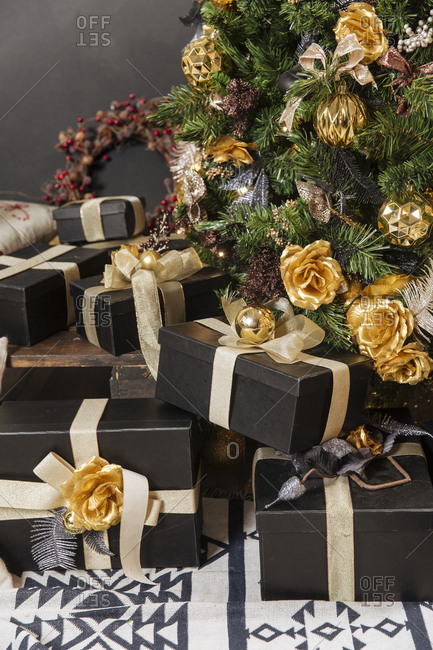 Pretty presents under a Christmas tree