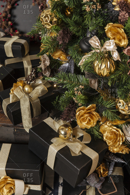 Fancy presents under a Christmas tree