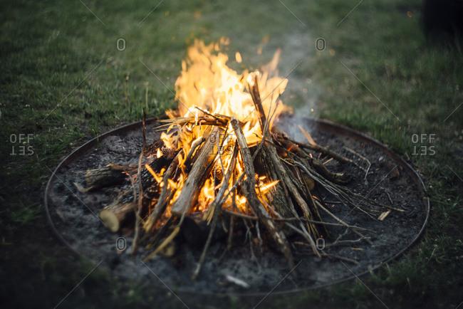 Fire pit on field