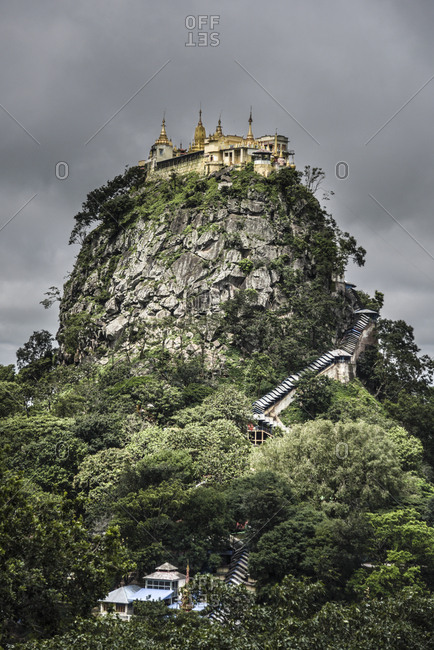 Low angle view of monastery on Mount Popa