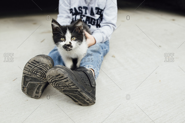 Low section of boy with kitten sitting on floor at home