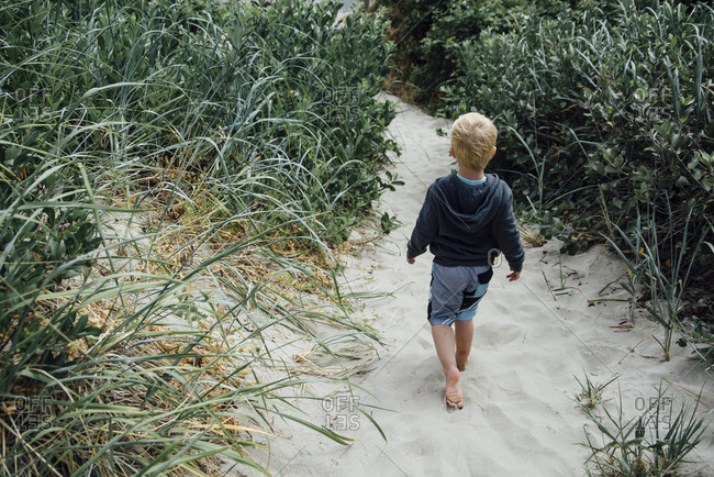 Rear view of boy walking on sand amidst plants at beach
