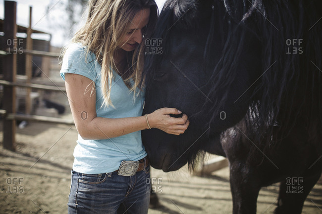 Young woman stroking horse while standing at barn