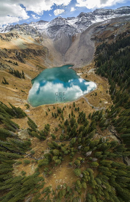 High angle view of Blue Lake in forest