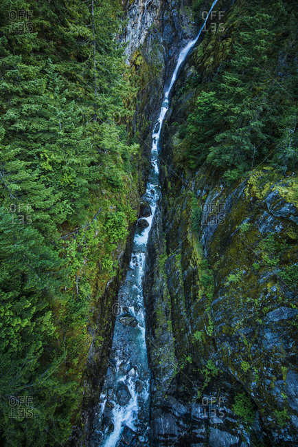 High angle view of river flowing by mountains at Olympic National Park