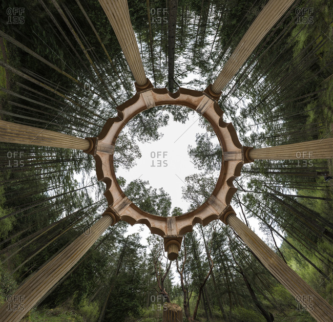 Low angle view of gazebo by trees against sky in forest