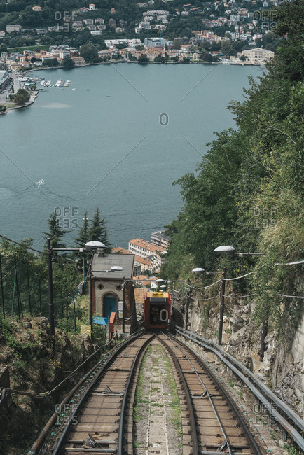 High angle view of funicular against river