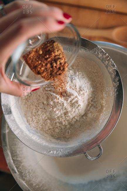 Woman baking holiday cookies