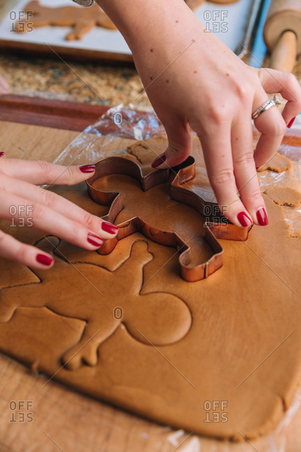 Woman baking holiday cookies