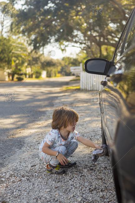 Little boy helping wash the car