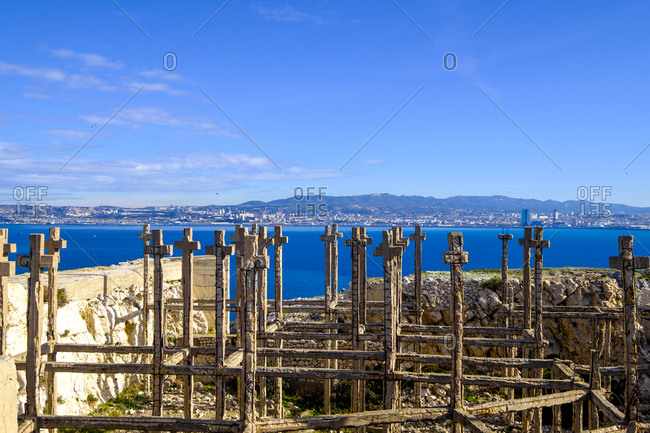 France, Bouches du Rhone, Marseille, Frioul islands, Ratonneau island, Croix Ratonneau, field of crosses at the center of the island