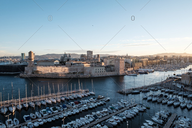 View of Fort St Jean from Fort St Nicolas, the Vieux Port, Marseille, Cote d'Azur, France