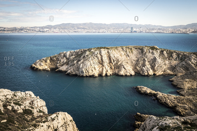 Landscape in the illes de Frioul in front of Marseille, France