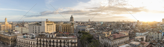 Havana, Cuba - November 2, 2016: A panorama of the Cuban capital highlights downtown buildings