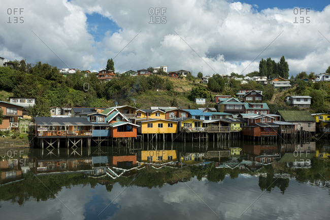 Castro, Chiloe island, Chile - February 9, 2017: Palafitos, stilt houses, on the island of Chiloe