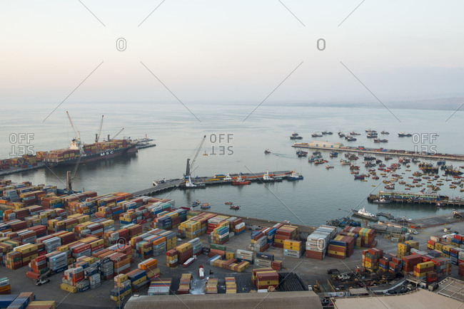 Arica, Chile - February 3, 2017: A view of shipping containers in the Port of Arica