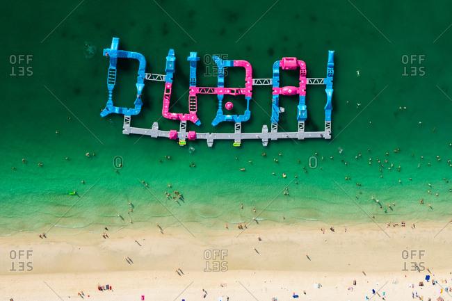 Dubai Marina, Dubai, United Arab Emirates - May 7, 2017: Aerial photo of the Dubai water park on Jumeirah Beach