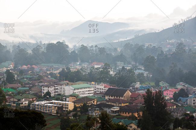 Nuwara Eliya, Sri Lanka - September 22, 2015: The town of Nuwara Eliya in the highlands of central Sri Lanka