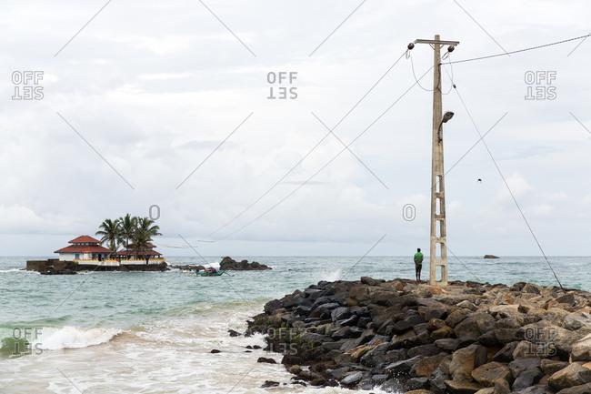 Galle, Sri Lanka - September 25, 2015: An island off of the southern coast of Sri Lanka