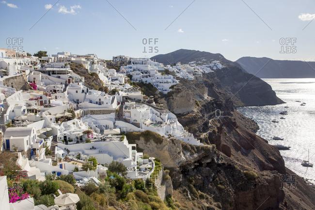 Oia, Santorini, Greece - September 22, 2017: Blue domes of Oia, Santorini, Greece